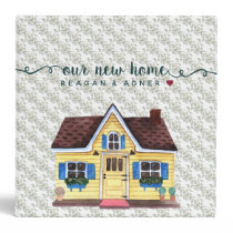 Cute Watercolor New Home Documents 3 Ring Binder