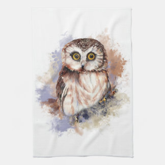 Cute Watercolor Owl Bird Nature art Kitchen Towels
