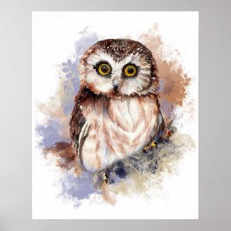 Cute Watercolor Owl Bird Nature art Poster