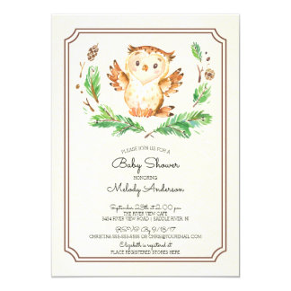 Cute Watercolor Owl Neutral Baby Shower Invitation