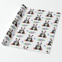 Cute Watercolor Panda Bear And Floral Wrapping Paper