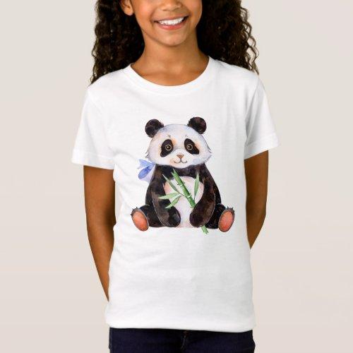 Cute Watercolor Panda Bear T_Shirt