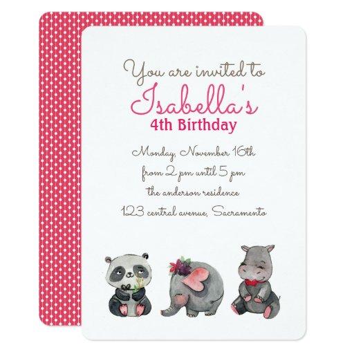 Cute Watercolor Panda elephant hippo BIRTHDAY Card