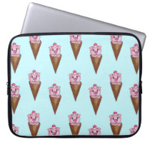 Cute Watercolor Piggy Ice Cream Pink Teal Pattern Laptop Sleeve