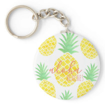 Cute Watercolor Pineapple Aloha Beaches Keychain
