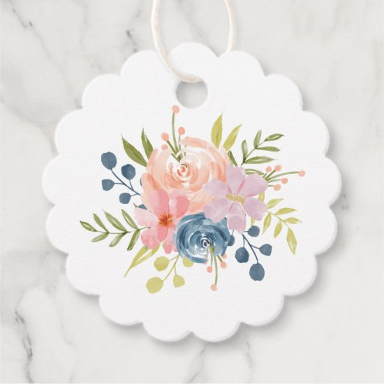 Cute Watercolor Pink and Blue Floral Favor Tags