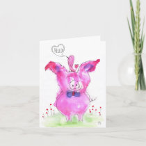 Cute Watercolor Pink Pigs Hello Greeting Card