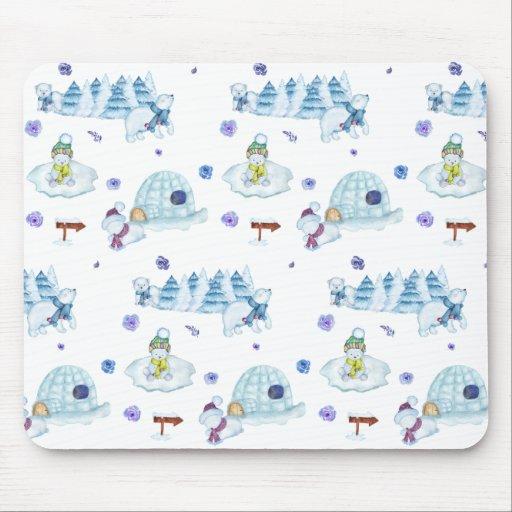 Cute Watercolor Polar Bear Christmas Pattern Mouse Pad