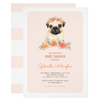 Cute Watercolor Pug Peach Floral Baby Shower Invitation
