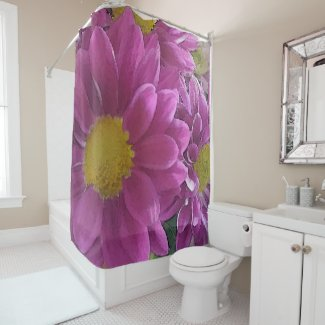 Cute Watercolor Purple Flowers Print Shower Curtain