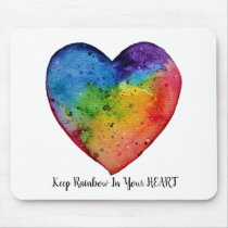 Cute Watercolor Rainbow Heart Mouse Pad