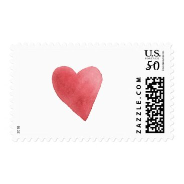 Wedding_Trends_Now Cute Watercolor Red Heart Minimalist Postage