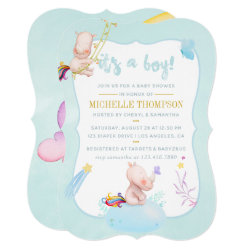 Cute Watercolor Rhino Unicorn Baby Boy Shower Card