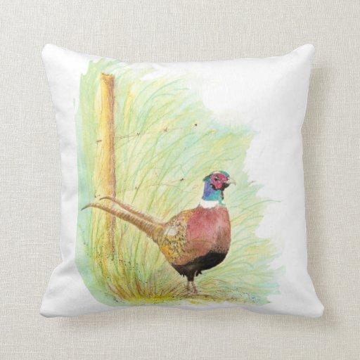 Cute Watercolor Ring-Necked Pheasant Bird Pillows