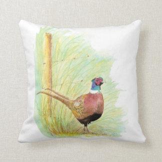 Cute Watercolor Ring-Necked Pheasant Bird Throw Pillow