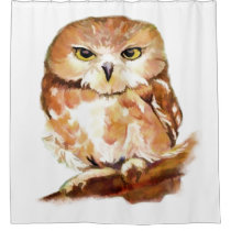 Cute Watercolor Saw Whet Owl Bird Animal Nature Shower Curtain