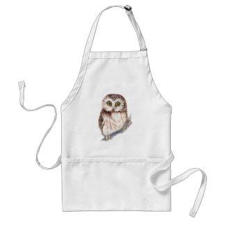 Cute Watercolor Saw Whet Owl Bird Humor Adult Apron