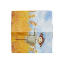 Cute Watercolor Scarecrow with Farm Landscape Checkbook Cover