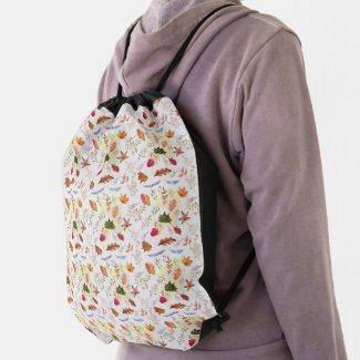 Cute Watercolor School Pretty Girls in Autumn Drawstring Bag