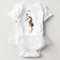 Cute Watercolor SEA HORSE seahorse Ocean Animal Baby Bodysuit