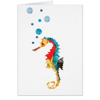 Cute Watercolor SEA HORSE seahorse Ocean Animal Card