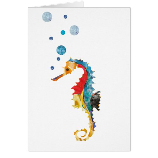 Cute Watercolor SEA HORSE seahorse Ocean Animal Card