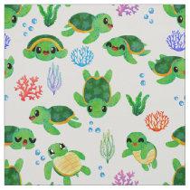 Cute Watercolor Sea Turtles Pattern Fabric
