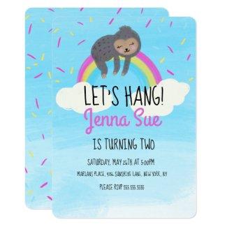 Cute Watercolor Sloth Rainbow Birthday Party Invitation