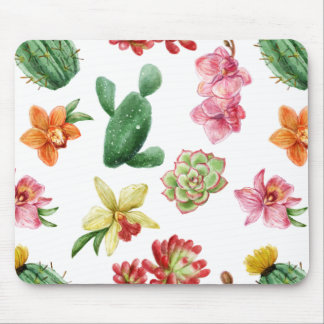 Cute Watercolor Succulent hand drawn pattern Mouse Pad