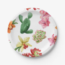 Cute Watercolor Succulent hand drawn pattern Paper Plate