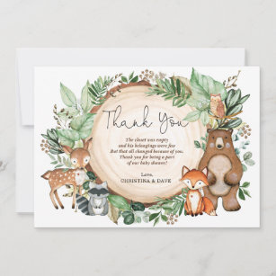 Woodland Forest Animals Fox Party Thank You Cards