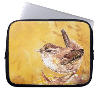 Cute Watercolor Wren Bird Laptop Sleeve