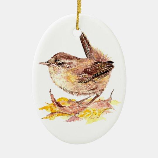 Cute Watercolor Wren Bird, Nature, Wildlife Animal Ceramic Ornament