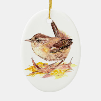 Cute Watercolor Wren Bird, Nature, Wildlife Animal Double-Sided Oval Ceramic Christmas Ornament