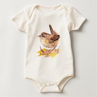 Cute Watercolor Wren Bird, Nature, Wildlife Baby Bodysuit