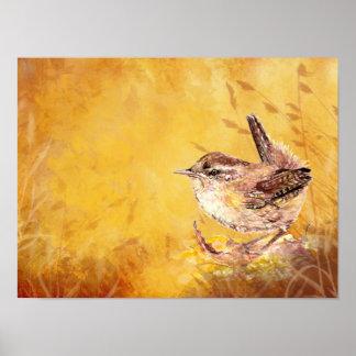 Cute Watercolor Wren Bird Painting Poster
