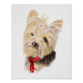 Cute Watercolor Yorkie Yorkshire Terrier Dog Poster