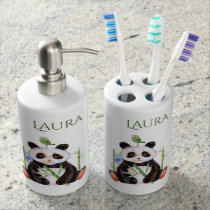 Cute Watercolors Panda & Bird Illustration Soap Dispenser And Toothbrush Holder