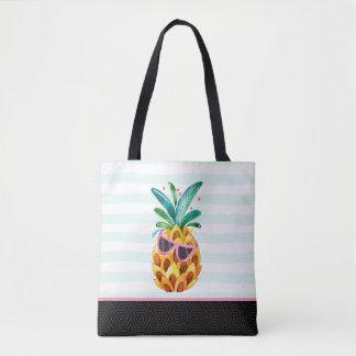 Cute Watercolors Pineapple Illustration Tote Bag