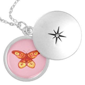 Cute Watercolour Butterfly Necklace Locket Pendant