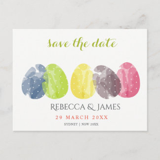CUTE WATERCOLOUR EASTER EGGS Save the date Announcement Postcard