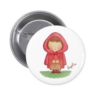 Cute Watercolour Red Riding Hood Button