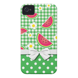 cute watermelon daisy gingham pattern iPhone 4 Case-Mate cases