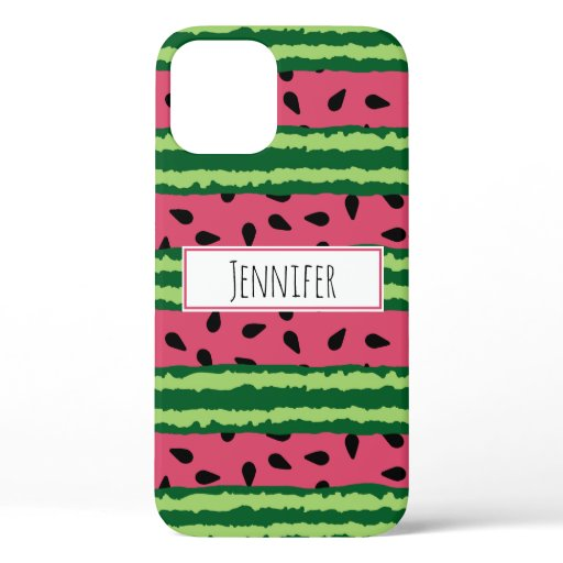 Cute Watermelon Pattern Pink & Green iPhone 12 Case