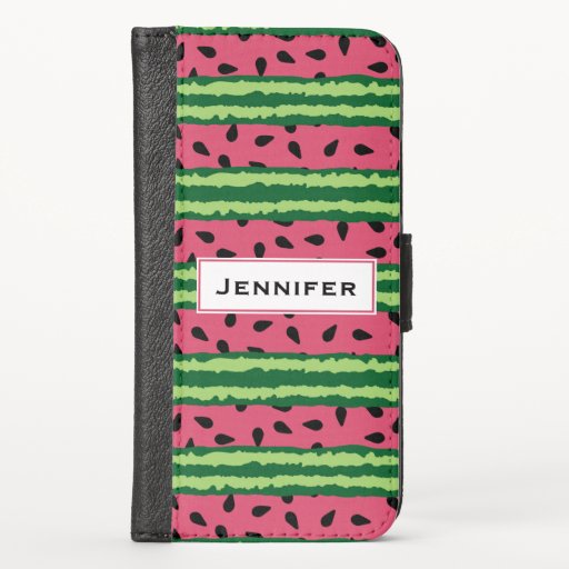 Cute Watermelon Pattern Pink & Green iPhone X Wallet Case