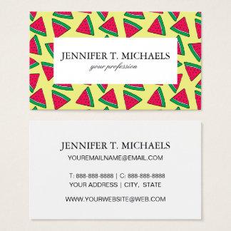 Cute Watermelon Slice Cartoon Pattern Business Card