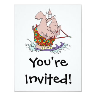 "cute waterskiing elephant cartoon 4.25"" x 5.5"" invitation card"