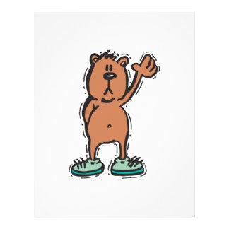 cute waving bear in sneakers flyer