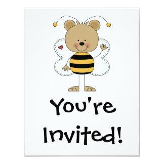 cute waving bumble bee bear card