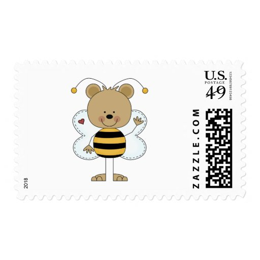 cute waving bumble bee bear postage stamps